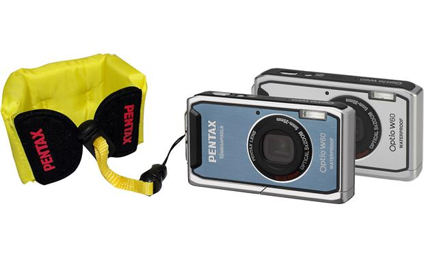 Pentax Floating Strap shown attached to blue Optio camera (both cameras not included)