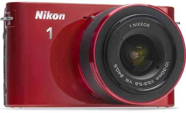 Nikon 1 J1 w/10mm Wide-Angle and 10-30mm VR Lens Front 3/4 view from left