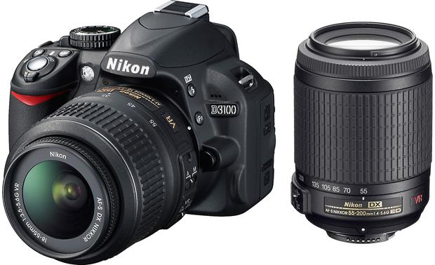 Nikon D3100 Kit with Standard Zoom and Telephoto VR Zoom Lenses Front