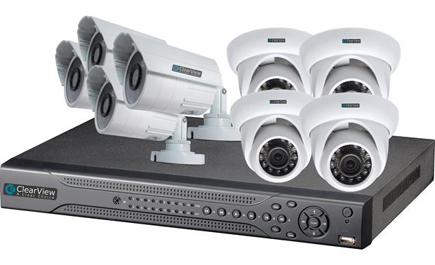 ClearView Eagle View 8-Channel Kit DVR shown with included surveillance cameras