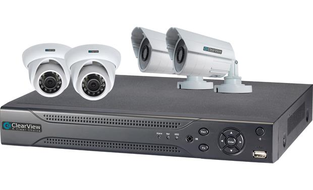 ClearView Hawk View 4-Channel Kit DVR shown with included surveillance cameras