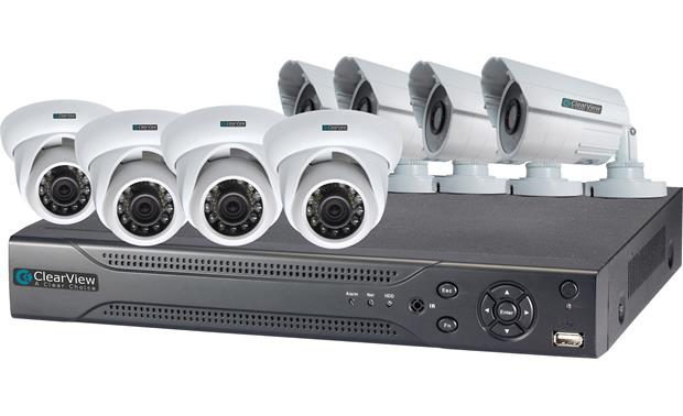 ClearView Hawk View 8-Channel Kit DVR shown with included surveillance cameras