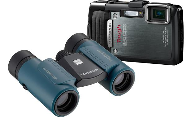 Olympus TG-830 with 8 x 21 RC II Waterproof Binoculars Front (Blue binoculars)