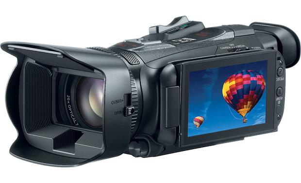 Canon VIXIA HF G30 Front, 3/4 view, from right, LCD rotated outward