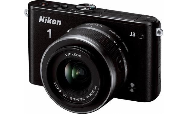 Nikon 1 J3 with Standard 3X Zoom Lens Front (Black)