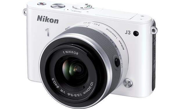 Nikon 1 J3 with Standard 3X Zoom Lens Front (White)