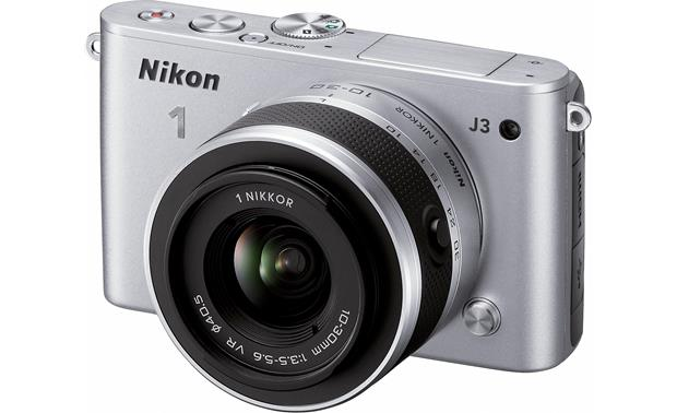 Nikon 1 J3 with Standard 3X Zoom Lens Front (Silver)