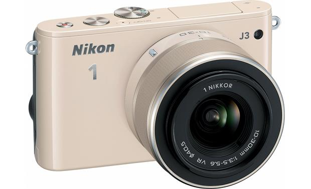 Nikon 1 J3 with Standard 3X Zoom Lens Front, 3/4 view, from left
