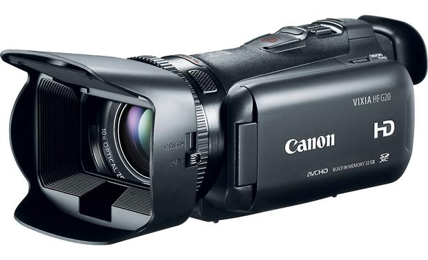 Canon VIXIA HF G20 Front, 3/4 angle from right, with LCD touchscreen rotated for storage