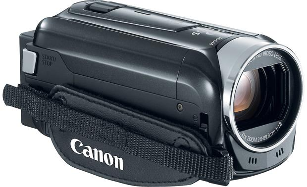 Canon VIXIA HF R400 Front, 3/4 view, from left