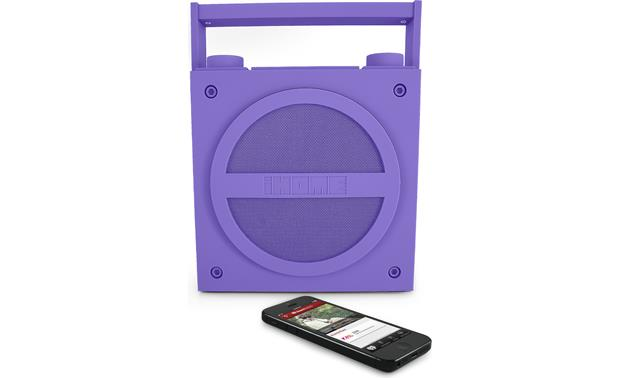 iHome iBT4 Purple with iPhone (not included)