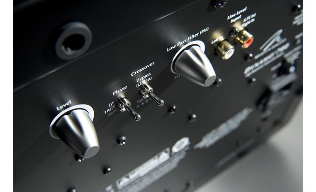 MartinLogan Dynamo™ 700W Closeup detail of subwoofer connections and controls