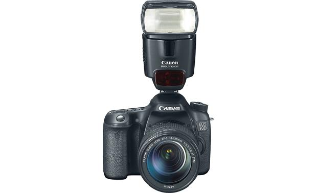 Canon EOS 70D Telephoto Lens Kit Front, higher angle, with external flash unit (not included)