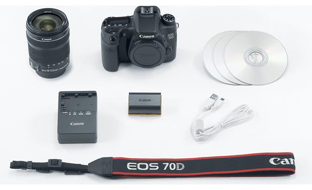 Canon EOS 70D Telephoto Lens Kit Shown with supplied accessories