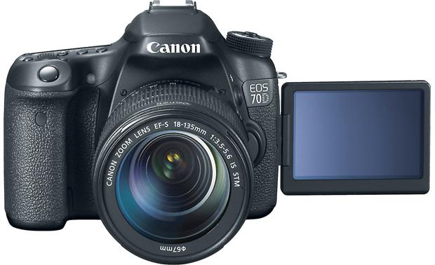 Canon EOS 70D Telephoto Lens Kit Front, straight-on, with LCD rotated forward for self-portraits