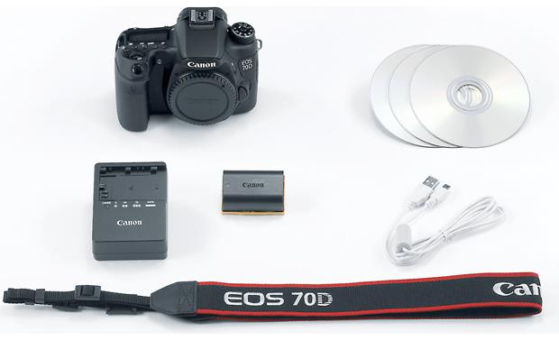 Canon EOS 70D (no lens included) Shown with supplied accessories