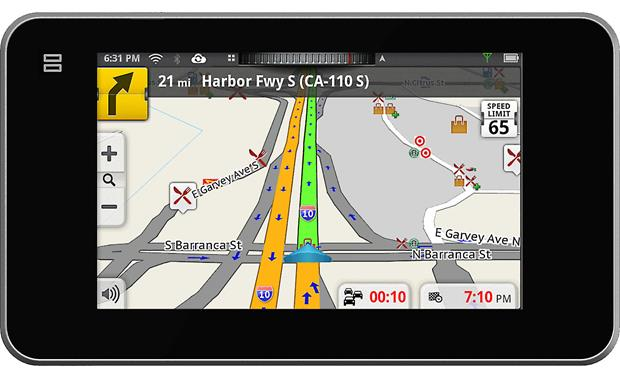 Magellan SmartGPS Colored lanes indicate how quickly traffic is moving along your route