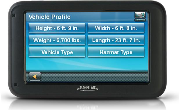 Magellan RoadMate RV5365T-LMB Enter your vehicle profile and let the RoadMate find the best roads for you to travel