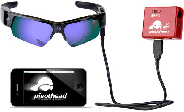 Air Pivothead Wi-Fi® Drive Front (shown with Pivothead sunglasses and smartphone, not included)