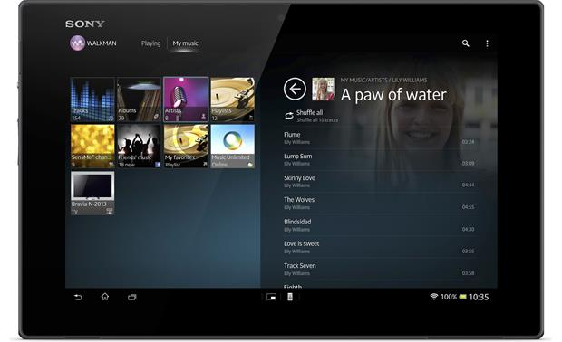 Sony Xperia™ Tablet Z Music player screenshot
