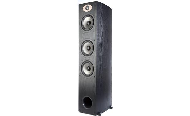 Polk Audio TSx440T Angled front view without grille (Black)