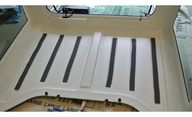 Boom Mat Sound Deadening Headliner Kit Boom Mat adhesive strips in 2012 Jeep Wrangler hard-top