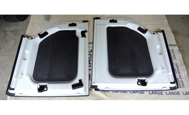 Boom Mat Sound Deadening Headliner Kit Headliner panels of 2012 Jeep Wrangler hard-top with Boom Mat installed