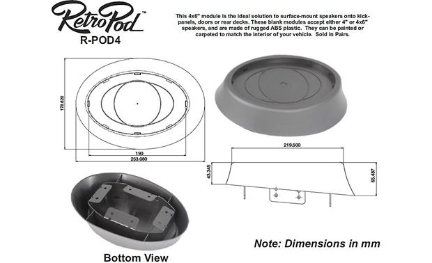 RetroSound RetroPod® RPOD4-463N Dimensions for RPOD4