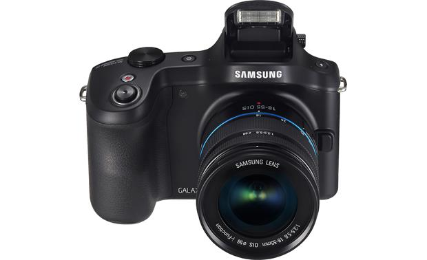 Samsung Galaxy NX-GN120 Front, higher angle, flash deployed
