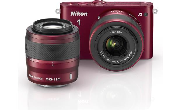 Nikon 1 J3 with Standard Zoom and Telephoto Zoom Lenses Front