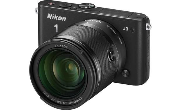 Nikon 1 J3 with Wide-range 10X Zoom Lens Front (Black)