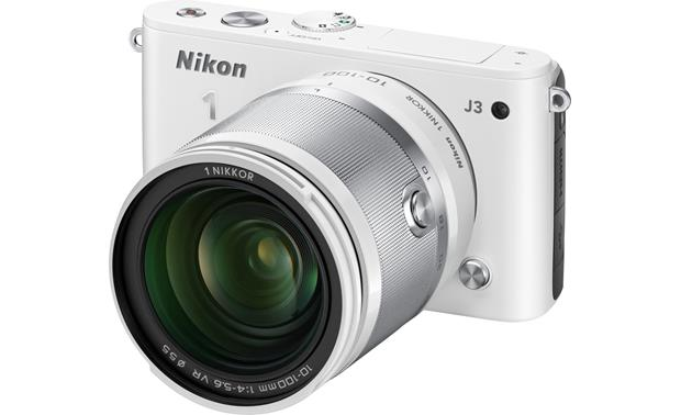 Nikon 1 J3 with Wide-range 10X Zoom Lens Front (White)