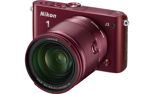 Nikon 1 J3 with Wide-range 10X Zoom Lens Front (Red)