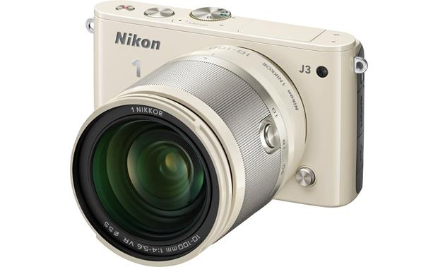 Nikon 1 J3 with Wide-range 10X Zoom Lens Front (Beige)