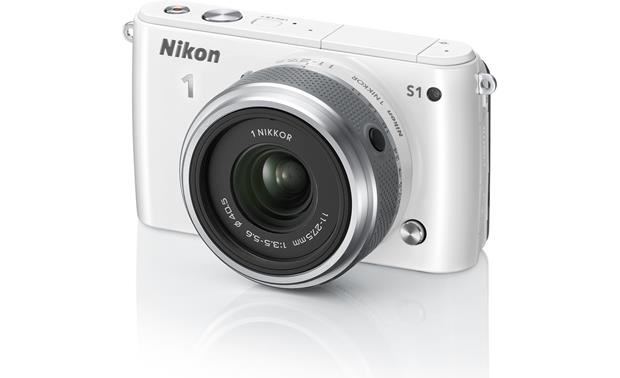 Nikon 1 S1 with Low-profile 2.5X Zoom Lens Front (White)