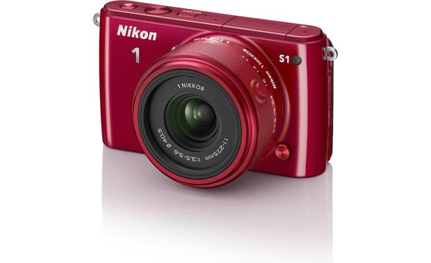 Nikon 1 S1 with Low-profile 2.5X Zoom Lens Front (Red)