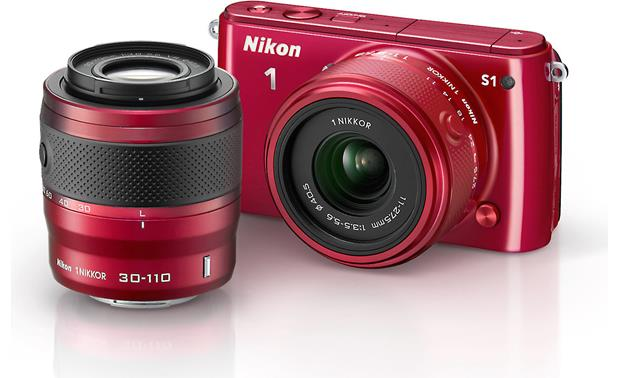 Nikon 1 S1 with Standard and Telephoto Zoom Lenses Front (Red)