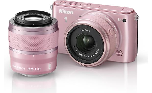 Nikon 1 S1 with Standard and Telephoto Zoom Lenses Front (Pink)