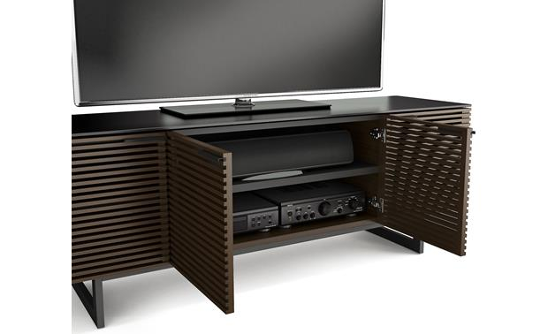 BDI Corridor 8179 Chocolate Stained Walnut - shelving detail (TV and components not included)