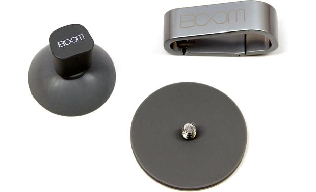 BOOM Urchin (L to R) Suction base, adhesive mount, carabiner