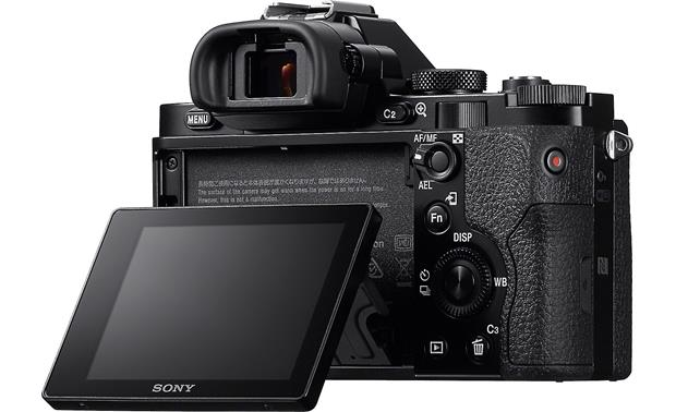 Sony Alpha a7 Kit 3/4 view from rear right with LCD angled out