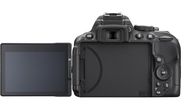 Nikon D5300 (no lens included) Back view with LCD rotated outward (Black)