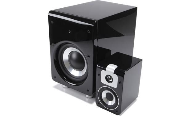 Bluesound Duo Sub and satellite speaker (grilles removed)