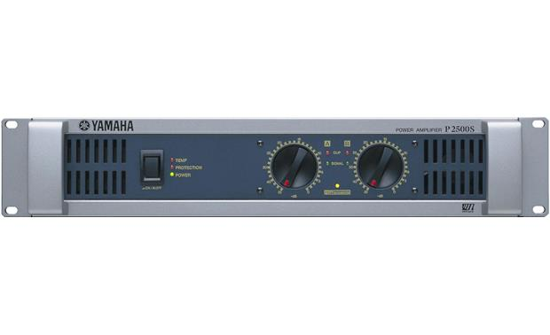 Yamaha P2500S The front panel includes gain controls for each channel, protection indicators, and the power switch
