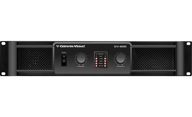 Cerwin-Vega CV-900 The front panel includes gain controls for each channel, LED indicators, and the power switch.
