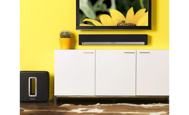 Sonos Playbar Shown in room with optional Sonos SUB