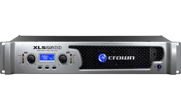 Crown XLS 2500 The front panel offers gain controls for each channel, LED indicators, an LCD screen with three menu buttons, and the power switch.