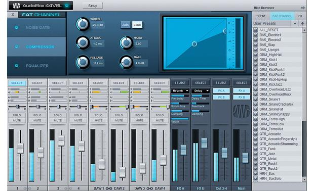 PreSonus AudioBox™ 44VSL Virtual StudioLive offers low-latency monitoring with effects