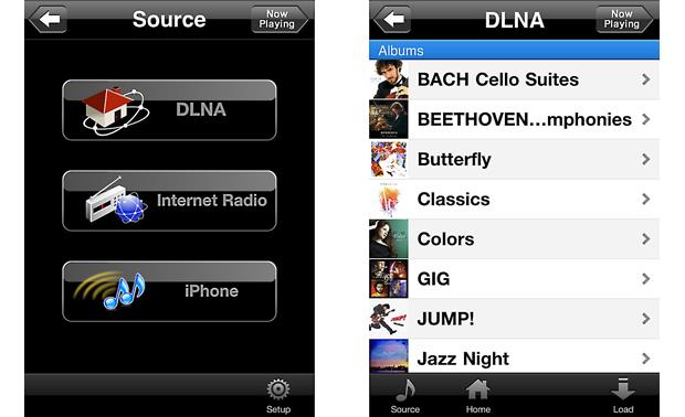 Yamaha CD-N500 On-screen app menus
