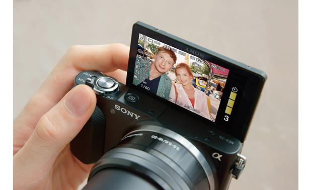 Sony Alpha NEX-3N 180-degree flippable LCD makes for easy self-portraits